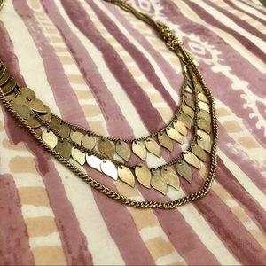 Multi Strand Boho Leaf Necklace